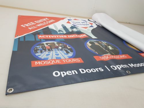 Bespoke Size Outdoor PVC Banners with eyelets from £15+vat per sqm, Printed In- House