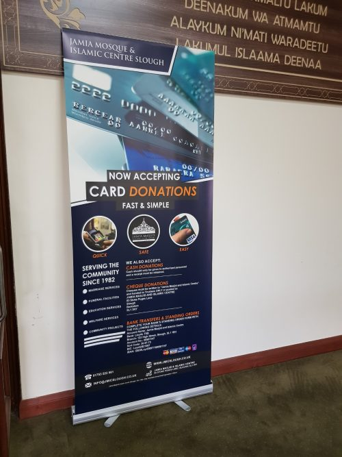 Roll up banner Adhesive top - Stoke Poges Masjid